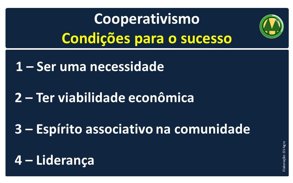 - 8 - Cooperativismo Condições para o sucesso 1 – Ser uma necessidade 2 – Ter viabilidade econômica 3 – Espírito associativo na comunidade 4 – Lideran