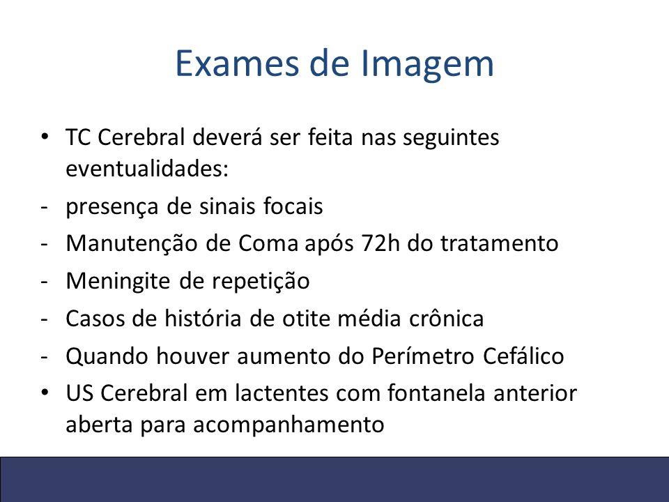 Exames de Imagem TC Cerebral deverá ser feita nas seguintes eventualidades: -presença de sinais focais -Manutenção de Coma após 72h do tratamento -Men