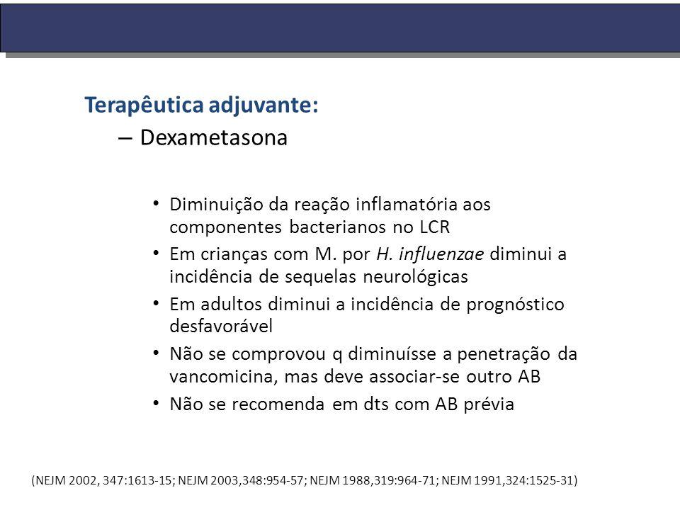 Terapêutica adjuvante: – Dexametasona Diminuição da reação inflamatória aos componentes bacterianos no LCR Em crianças com M. por H. influenzae diminu