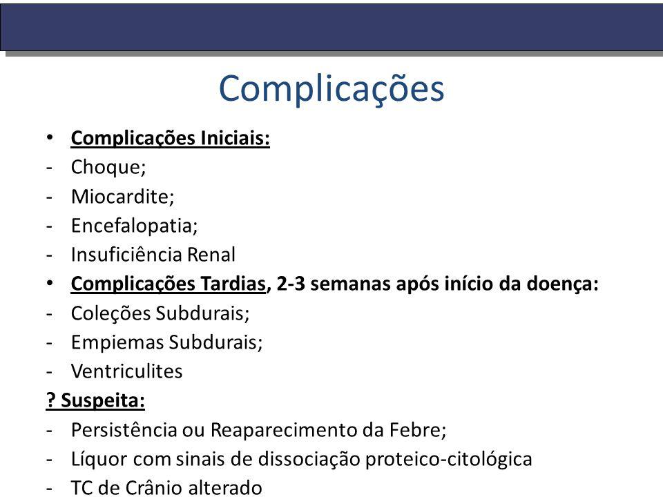 Complicações Complicações Iniciais: -Choque; -Miocardite; -Encefalopatia; -Insuficiência Renal Complicações Tardias, 2-3 semanas após início da doença