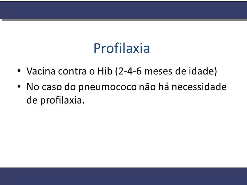 Profilaxia Vacina contra o Hib (2-4-6 meses de idade) No caso do pneumococo não há necessidade de profilaxia.