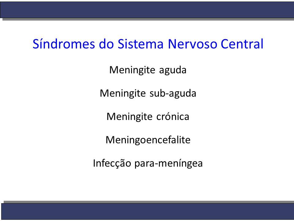  Meningite aguda: Duração horas ou poucos dias Classificação:  bacteriana ou  asséptica (viral, bacteriana com cultura negativa, fúngica, micobacteriana ou não infecciosa).