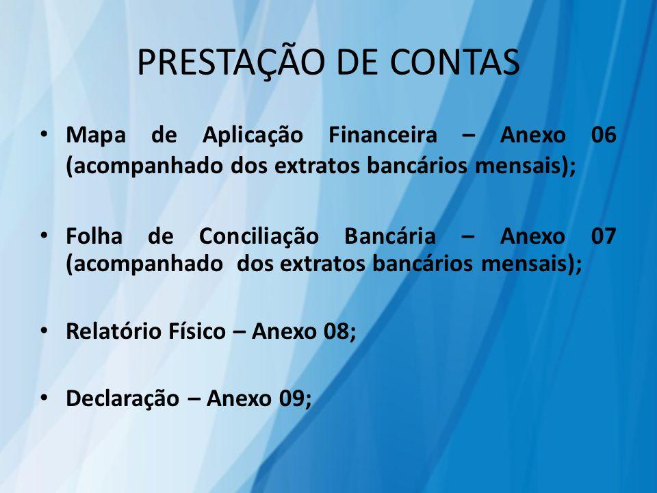 PRESTAÇÃO DE CONTAS Mapa de Aplicação Financeira – Anexo 06 (acompanhado dos extratos bancários mensais); Folha de Conciliação Bancária – Anexo 07 (acompanhado dos extratos bancários mensais); Relatório Físico – Anexo 08; Declaração – Anexo 09;