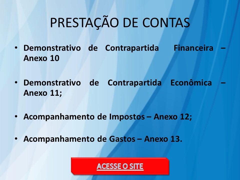 PRESTAÇÃO DE CONTAS Demonstrativo de Contrapartida Financeira – Anexo 10 Demonstrativo de Contrapartida Econômica – Anexo 11; Acompanhamento de Impostos – Anexo 12; Acompanhamento de Gastos – Anexo 13.
