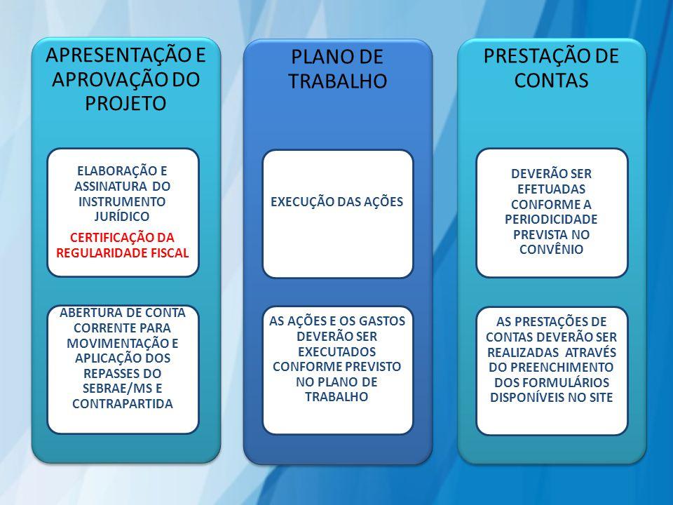 APRESENTAÇÃO E APROVAÇÃO DO PROJETO ELABORAÇÃO E ASSINATURA DO INSTRUMENTO JURÍDICO CERTIFICAÇÃO DA REGULARIDADE FISCAL ABERTURA DE CONTA CORRENTE PARA MOVIMENTAÇÃO E APLICAÇÃO DOS REPASSES DO SEBRAE/MS E CONTRAPARTIDA PLANO DE TRABALHO EXECUÇÃO DAS AÇÕES AS AÇÕES E OS GASTOS DEVERÃO SER EXECUTADOS CONFORME PREVISTO NO PLANO DE TRABALHO PRESTAÇÃO DE CONTAS DEVERÃO SER EFETUADAS CONFORME A PERIODICIDADE PREVISTA NO CONVÊNIO AS PRESTAÇÕES DE CONTAS DEVERÃO SER REALIZADAS ATRAVÉS DO PREENCHIMENTO DOS FORMULÁRIOS DISPONÍVEIS NO SITE