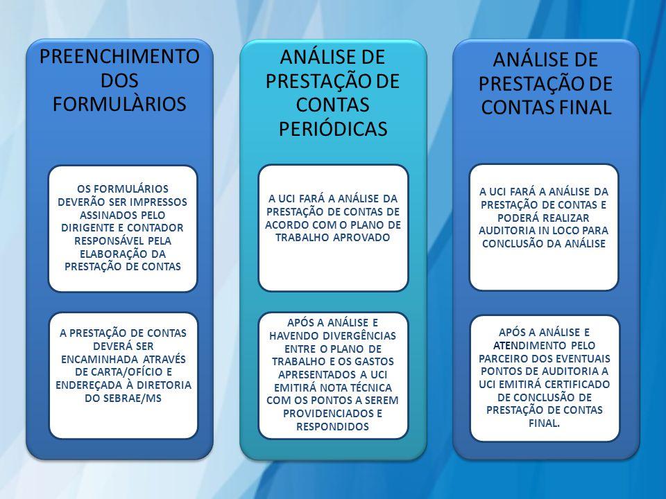 PREENCHIMENTO DOS FORMULÀRIOS OS FORMULÁRIOS DEVERÃO SER IMPRESSOS ASSINADOS PELO DIRIGENTE E CONTADOR RESPONSÁVEL PELA ELABORAÇÃO DA PRESTAÇÃO DE CONTAS A PRESTAÇÃO DE CONTAS DEVERÁ SER ENCAMINHADA ATRAVÉS DE CARTA/OFÍCIO E ENDEREÇADA À DIRETORIA DO SEBRAE/MS ANÁLISE DE PRESTAÇÃO DE CONTAS PERIÓDICAS A UCI FARÁ A ANÁLISE DA PRESTAÇÃO DE CONTAS DE ACORDO COM O PLANO DE TRABALHO APROVADO APÓS A ANÁLISE E HAVENDO DIVERGÊNCIAS ENTRE O PLANO DE TRABALHO E OS GASTOS APRESENTADOS A UCI EMITIRÁ NOTA TÉCNICA COM OS PONTOS A SEREM PROVIDENCIADOS E RESPONDIDOS ANÁLISE DE PRESTAÇÃO DE CONTAS FINAL A UCI FARÁ A ANÁLISE DA PRESTAÇÃO DE CONTAS E PODERÁ REALIZAR AUDITORIA IN LOCO PARA CONCLUSÃO DA ANÁLISE APÓS A ANÁLISE E ATENDIMENTO PELO PARCEIRO DOS EVENTUAIS PONTOS DE AUDITORIA A UCI EMITIRÁ CERTIFICADO DE CONCLUSÃO DE PRESTAÇÃO DE CONTAS FINAL.