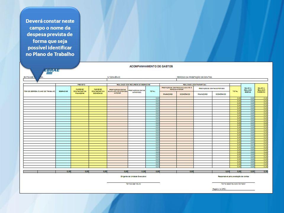 Deverá constar neste campo o nome da despesa prevista de forma que seja possível identificar no Plano de Trabalho