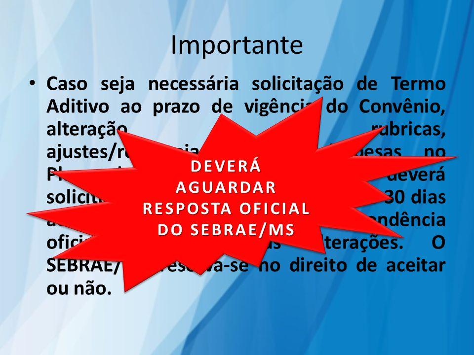 Importante Caso seja necessária solicitação de Termo Aditivo ao prazo de vigência do Convênio, alteração de rubricas, ajustes/remanejamento de despesa