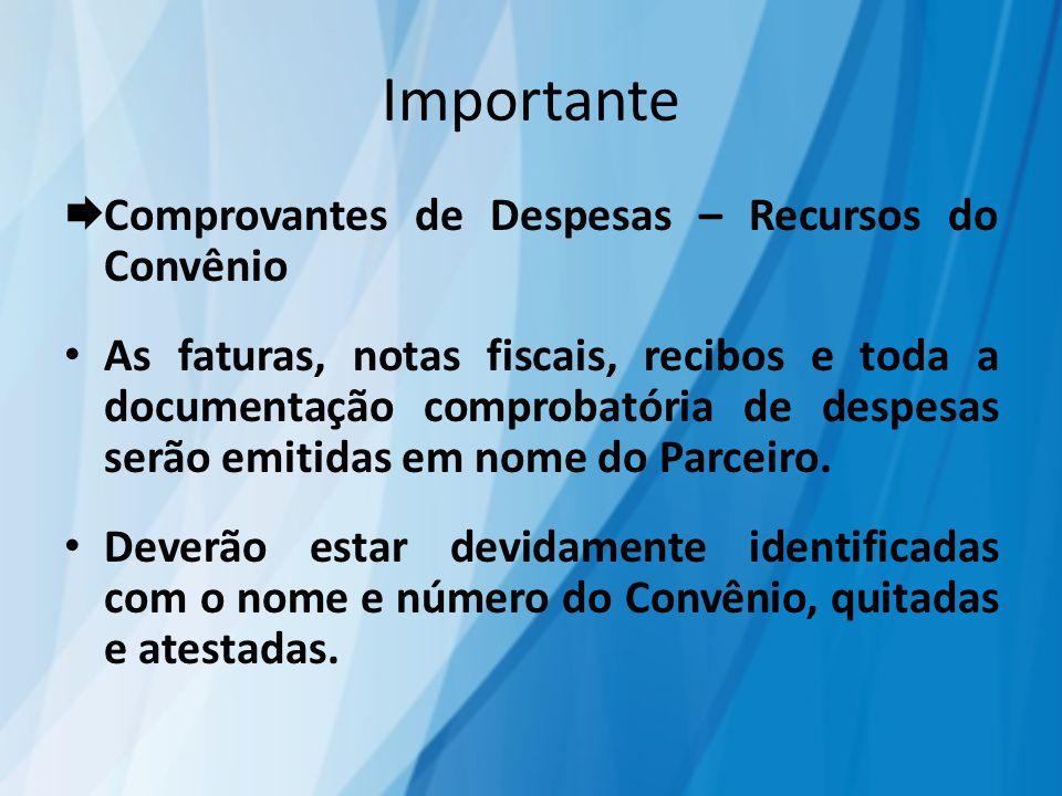 Importante  Comprovantes de Despesas – Recursos do Convênio As faturas, notas fiscais, recibos e toda a documentação comprobatória de despesas serão emitidas em nome do Parceiro.
