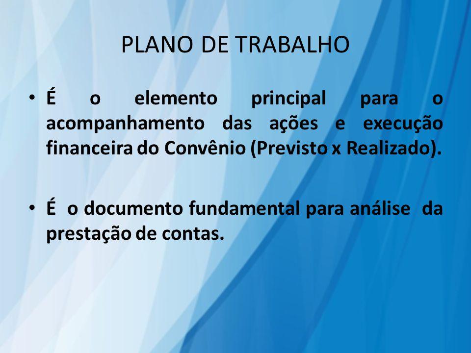 PLANO DE TRABALHO É o elemento principal para o acompanhamento das ações e execução financeira do Convênio (Previsto x Realizado). É o documento funda