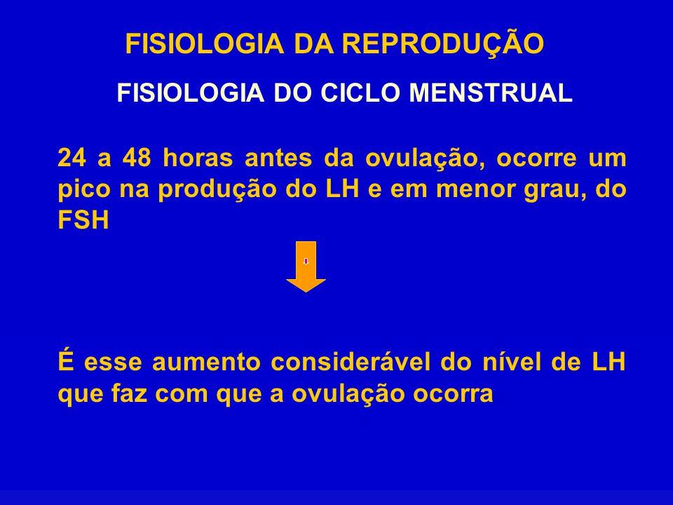 FISIOLOGIA DA REPRODUÇÃO FISIOLOGIA DO CICLO MENSTRUAL Após a ovulação, o folículo se reorganiza para formar o corpo lúteo ou amarelo que secreta grande quantidade de progesterona e estrogênio e secreta ainda o hormônio inibina Se a fertilização do óvulo e/ou a implantação não ocorre, o corpo lúteo entra em remissão e degenera-se totalmente ao fim do 12º dia de sua vida, havendo acentuada diminuição de estrogênio e progesterona, ocorrendo a menstruação