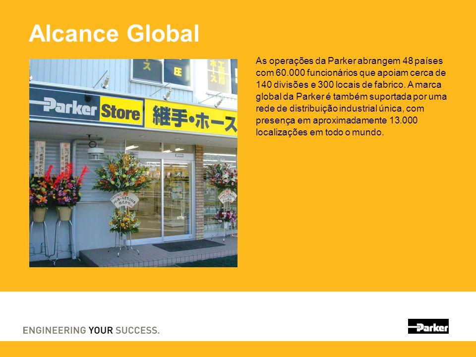 Alcance Global As operações da Parker abrangem 48 países com 60.000 funcionários que apoiam cerca de 140 divisões e 300 locais de fabrico. A marca glo