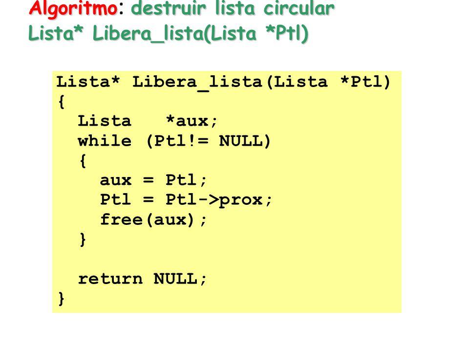 Algoritmodestruir lista circular Lista* Libera_lista(Lista *Ptl) Algoritmo : destruir lista circular Lista* Libera_lista(Lista *Ptl) Lista* Libera_lis