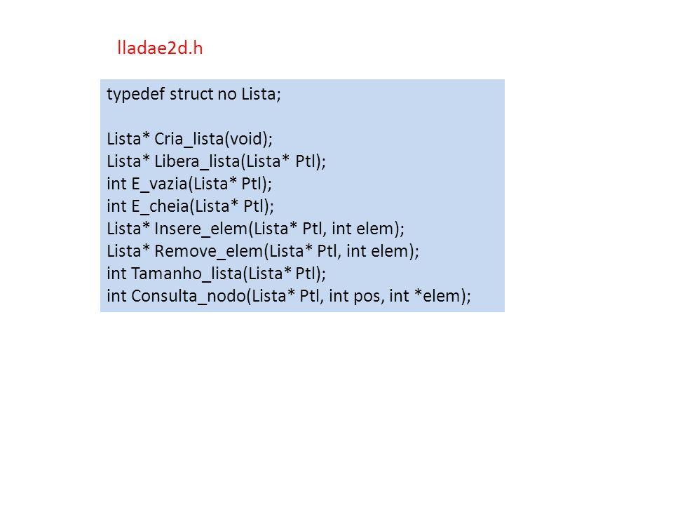 typedef struct no Lista; Lista* Cria_lista(void); Lista* Libera_lista(Lista* Ptl); int E_vazia(Lista* Ptl); int E_cheia(Lista* Ptl); Lista* Insere_ele