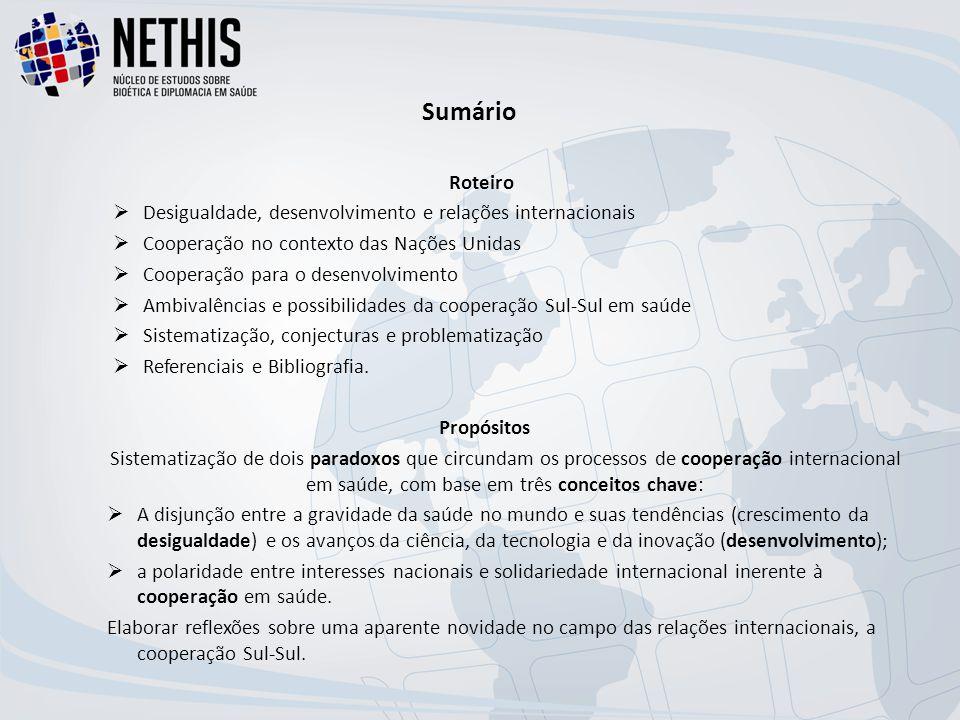 Sumário Roteiro  Desigualdade, desenvolvimento e relações internacionais  Cooperação no contexto das Nações Unidas  Cooperação para o desenvolvimento  Ambivalências e possibilidades da cooperação Sul-Sul em saúde  Sistematização, conjecturas e problematização  Referenciais e Bibliografia.