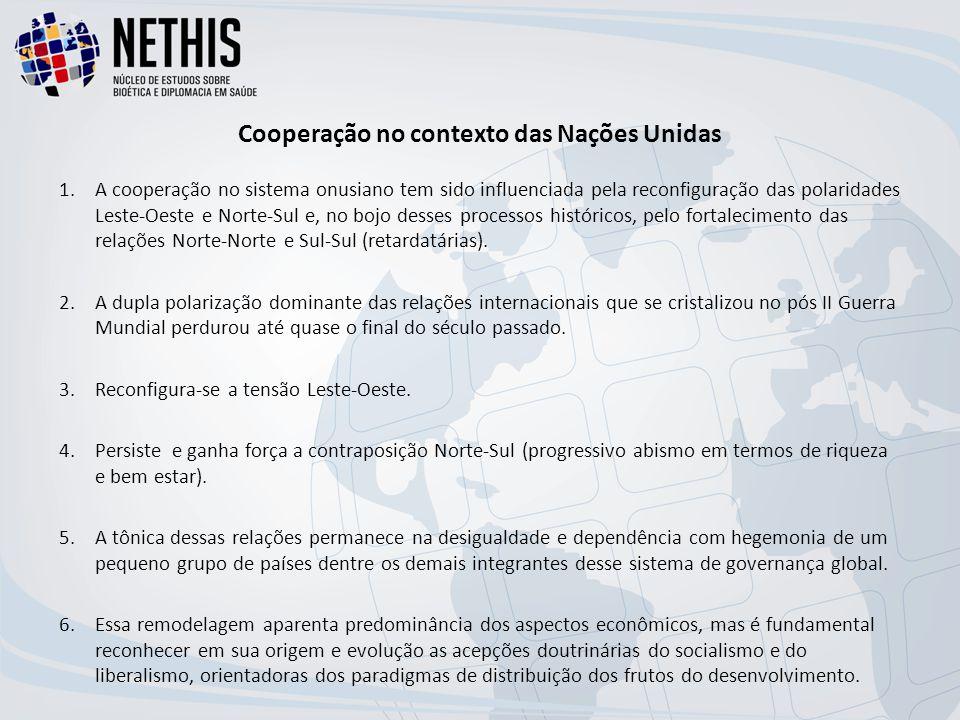 Cooperação no contexto das Nações Unidas 1.A cooperação no sistema onusiano tem sido influenciada pela reconfiguração das polaridades Leste-Oeste e Norte-Sul e, no bojo desses processos históricos, pelo fortalecimento das relações Norte-Norte e Sul-Sul (retardatárias).