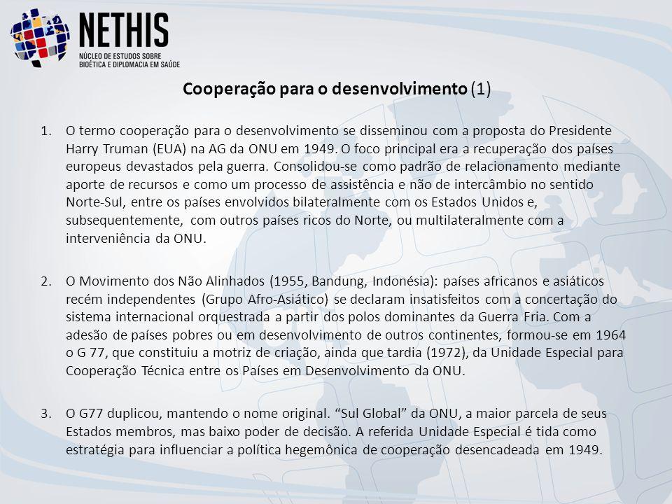 Cooperação para o desenvolvimento (1) 1.O termo cooperação para o desenvolvimento se disseminou com a proposta do Presidente Harry Truman (EUA) na AG da ONU em 1949.