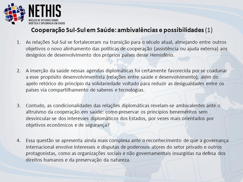Cooperação Sul-Sul em Saúde: ambivalências e possibilidades (1) 1.As relações Sul-Sul se fortaleceram na transição para o século atual, almejando entre outros objetivos o novo alinhamento das políticas de cooperação (assistência ou ajuda externa) aos desígnios de desenvolvimento dos próprios países desse Hemisfério.