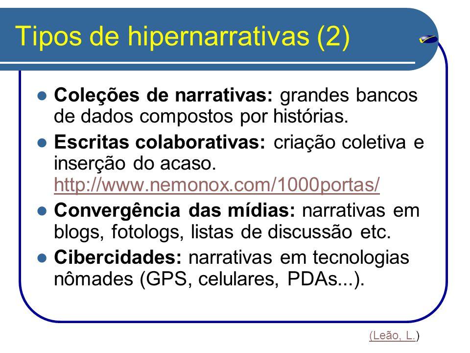 Tipos de hipernarrativas (2) Coleções de narrativas: grandes bancos de dados compostos por histórias. Escritas colaborativas: criação coletiva e inser