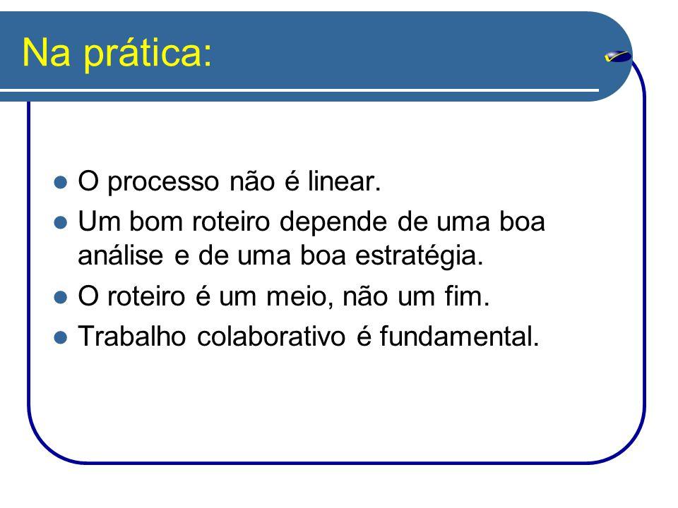 Na prática: O processo não é linear. Um bom roteiro depende de uma boa análise e de uma boa estratégia. O roteiro é um meio, não um fim. Trabalho cola