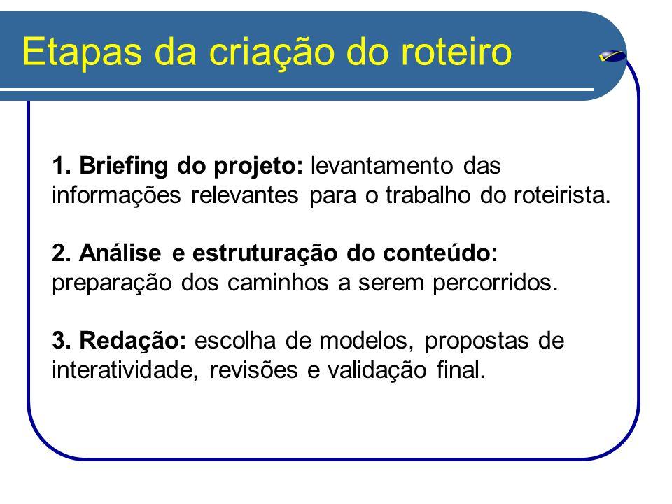 Etapas da criação do roteiro 1. Briefing do projeto: levantamento das informações relevantes para o trabalho do roteirista. 2. Análise e estruturação