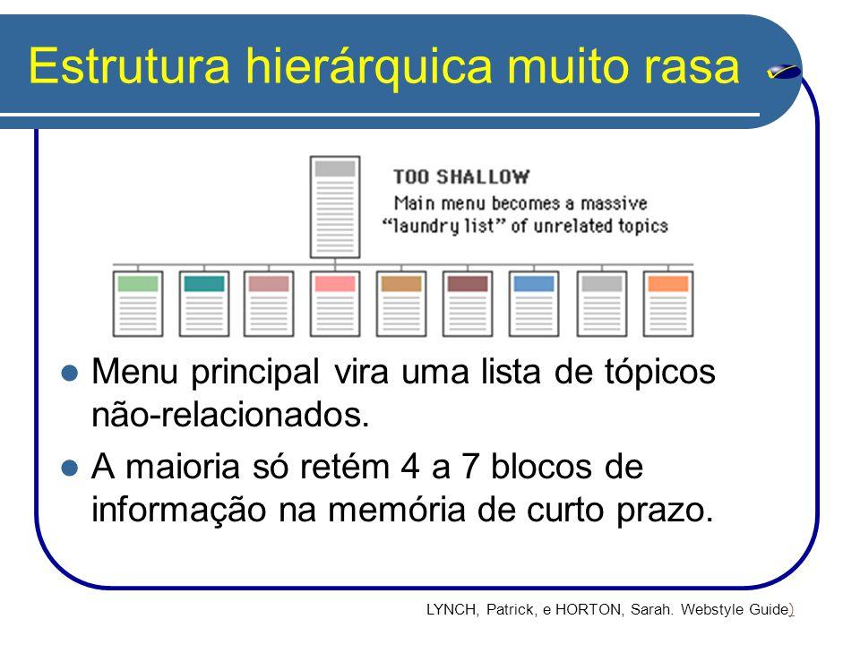 Estrutura hierárquica muito rasa Menu principal vira uma lista de tópicos não-relacionados. A maioria só retém 4 a 7 blocos de informação na memória d