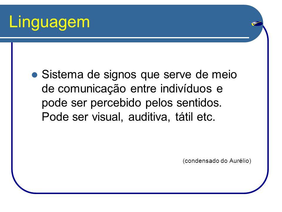Linguagem Sistema de signos que serve de meio de comunicação entre indivíduos e pode ser percebido pelos sentidos.