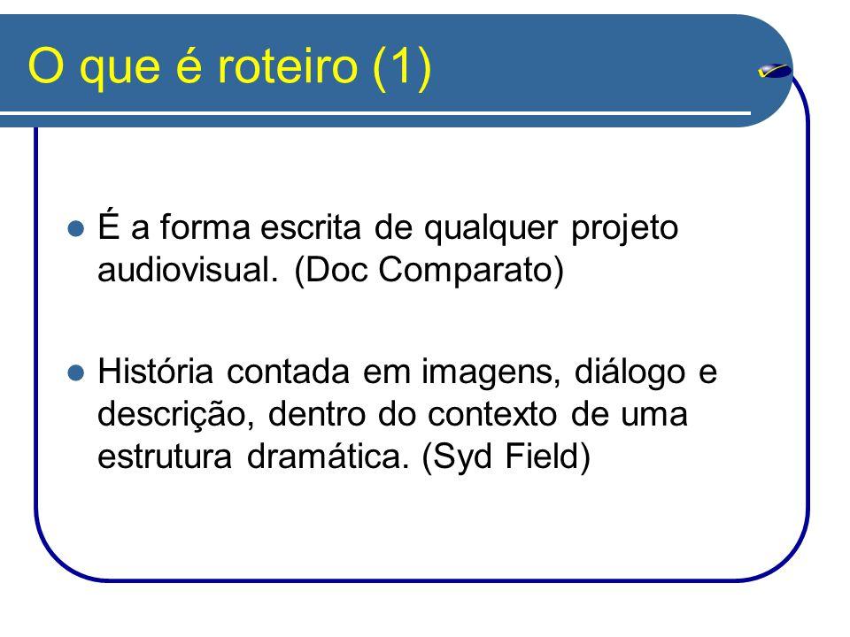 O que é roteiro (1) É a forma escrita de qualquer projeto audiovisual. (Doc Comparato) História contada em imagens, diálogo e descrição, dentro do con