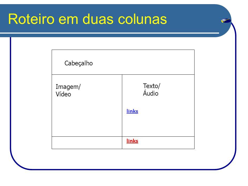 Roteiro em duas colunas Imagem/ Vídeo Texto/ Áudio links Cabeçalho