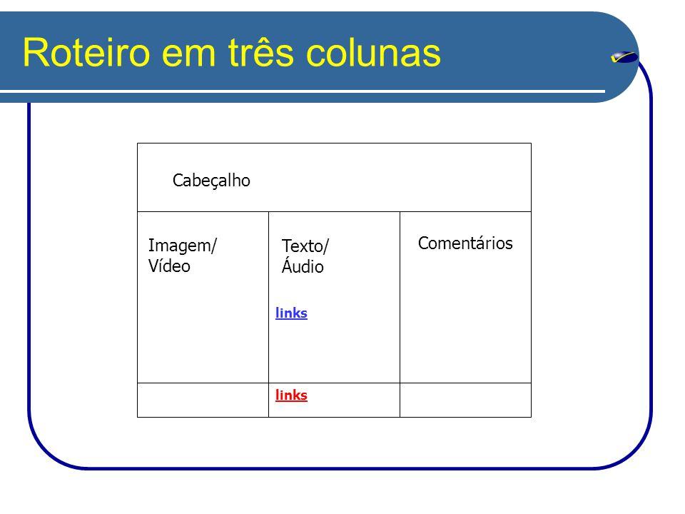 Roteiro em três colunas Imagem/ Vídeo Comentários Texto/ Áudio links Cabeçalho