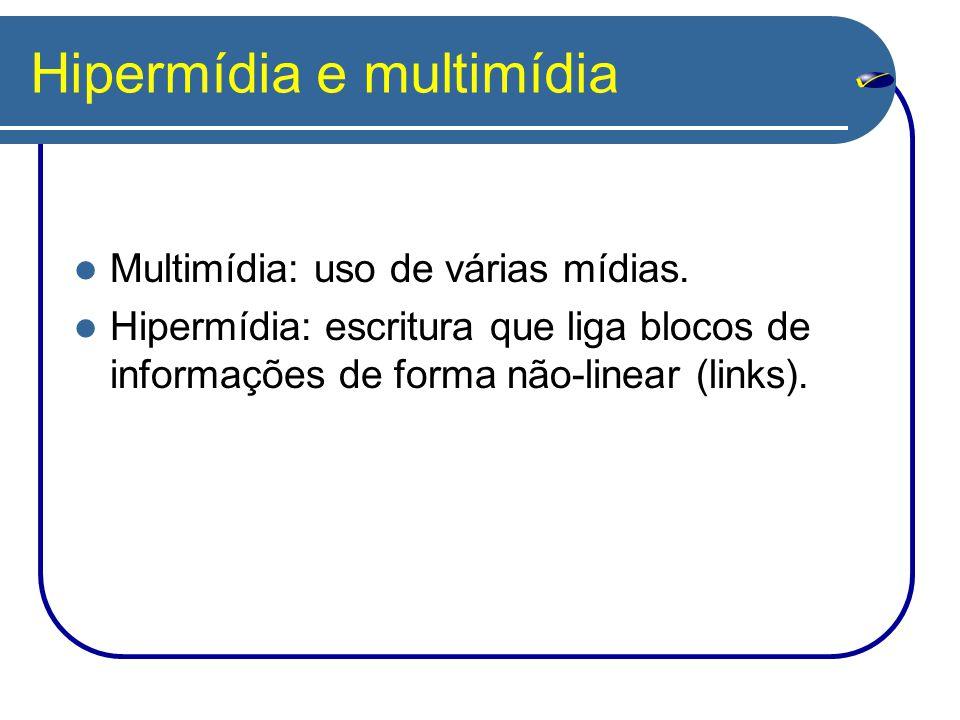 Hipermídia e multimídia Multimídia: uso de várias mídias. Hipermídia: escritura que liga blocos de informações de forma não-linear (links).