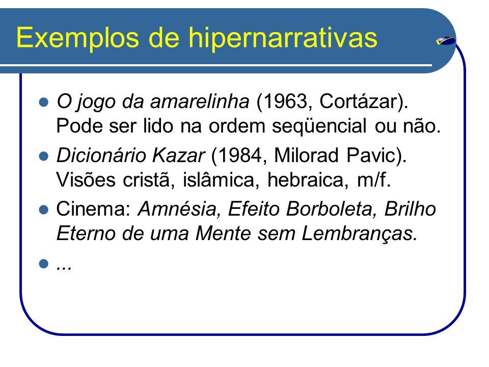 Exemplos de hipernarrativas O jogo da amarelinha (1963, Cortázar). Pode ser lido na ordem seqüencial ou não. Dicionário Kazar (1984, Milorad Pavic). V