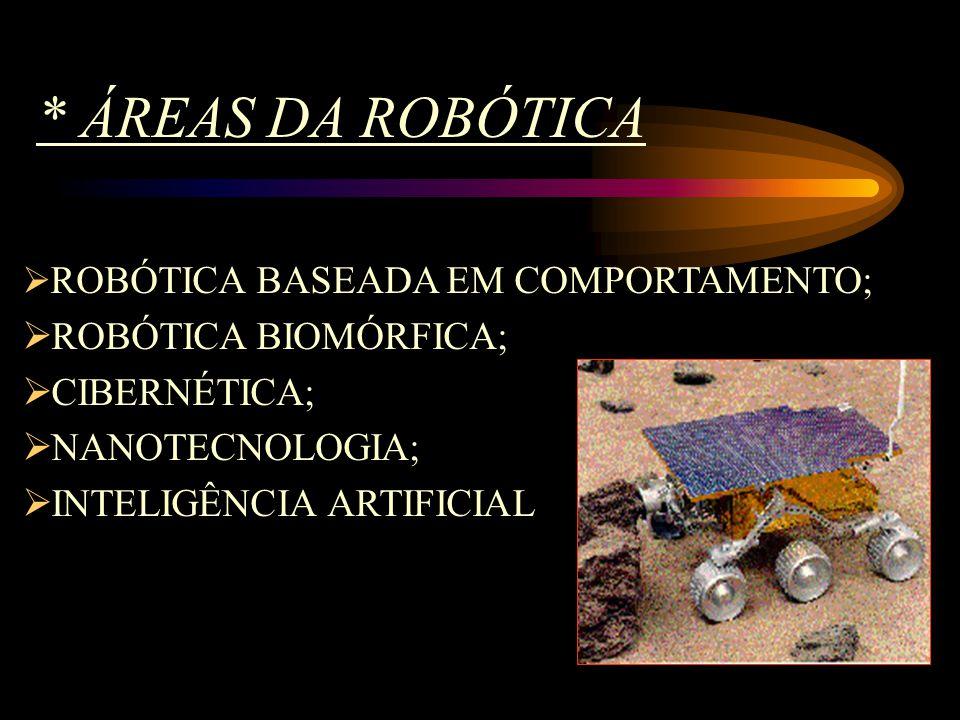 * ÁREAS DA ROBÓTICA  ROBÓTICA BASEADA EM COMPORTAMENTO;  ROBÓTICA BIOMÓRFICA;  CIBERNÉTICA;  NANOTECNOLOGIA;  INTELIGÊNCIA ARTIFICIAL