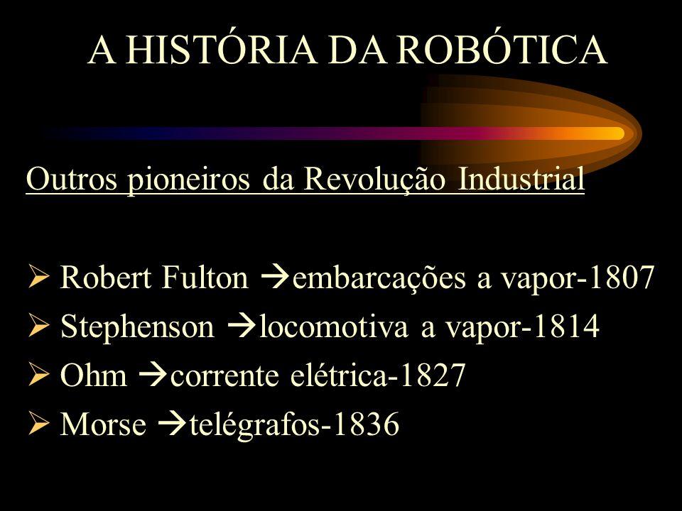 Outros pioneiros da Revolução Industrial  Robert Fulton  embarcações a vapor-1807  Stephenson  locomotiva a vapor-1814  Ohm  corrente elétrica-1