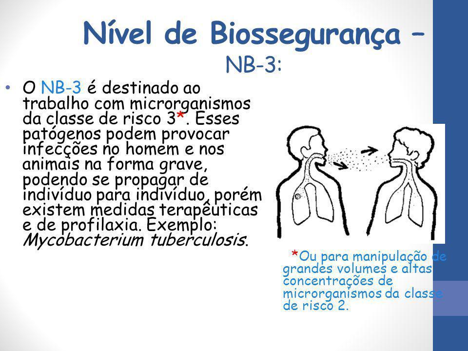 Nível de Biossegurança – NB-3: O NB-3 é destinado ao trabalho com microrganismos da classe de risco 3*. Esses patógenos podem provocar infecções no ho