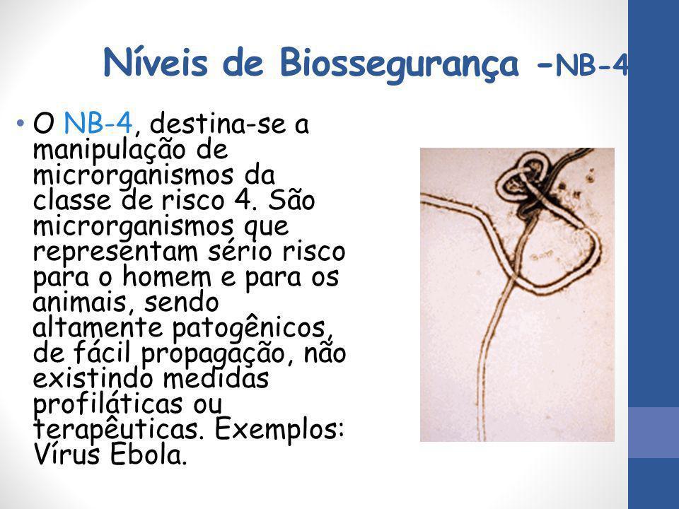 Níveis de Biossegurança - NB-4 O NB-4, destina-se a manipulação de microrganismos da classe de risco 4. São microrganismos que representam sério risco