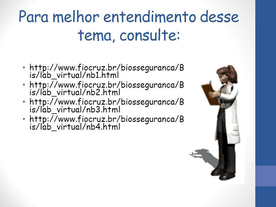 Para melhor entendimento desse tema, consulte: http://www.fiocruz.br/biosseguranca/B is/lab_virtual/nb1.html http://www.fiocruz.br/biosseguranca/B is/