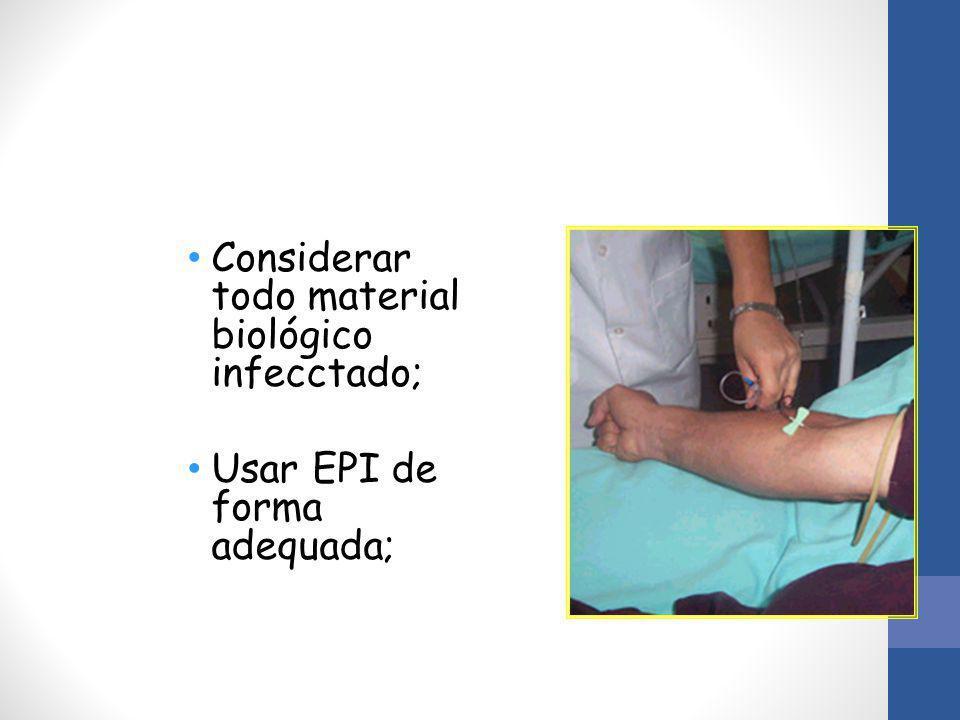 Considerar todo material biológico infecctado; Usar EPI de forma adequada;