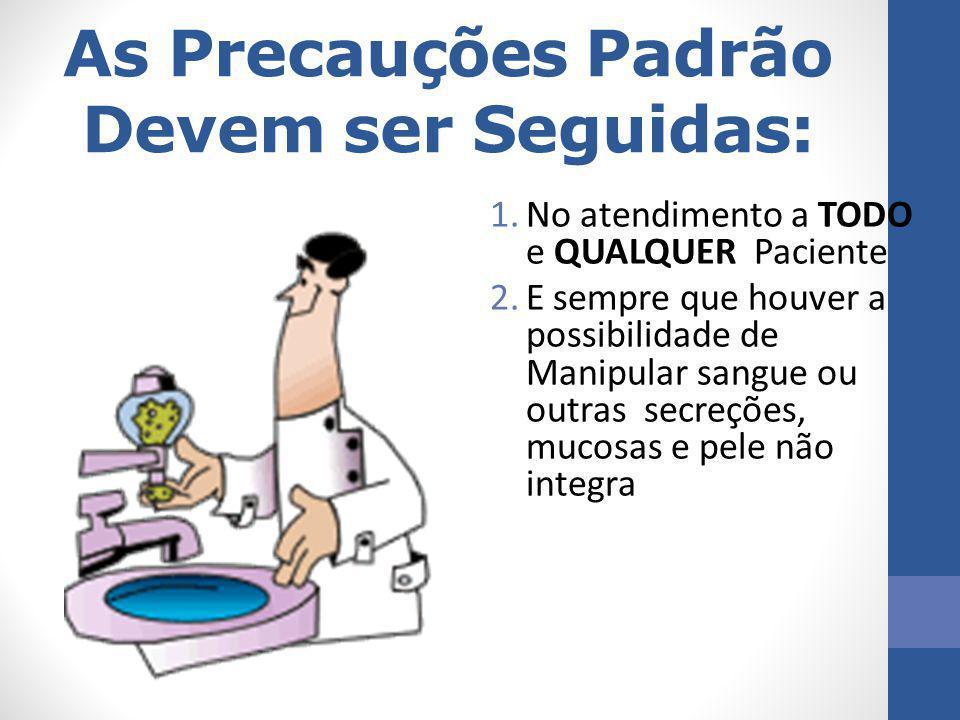 As Precauções Padrão Devem ser Seguidas: 1.No atendimento a TODO e QUALQUER Paciente 2.E sempre que houver a possibilidade de Manipular sangue ou outr