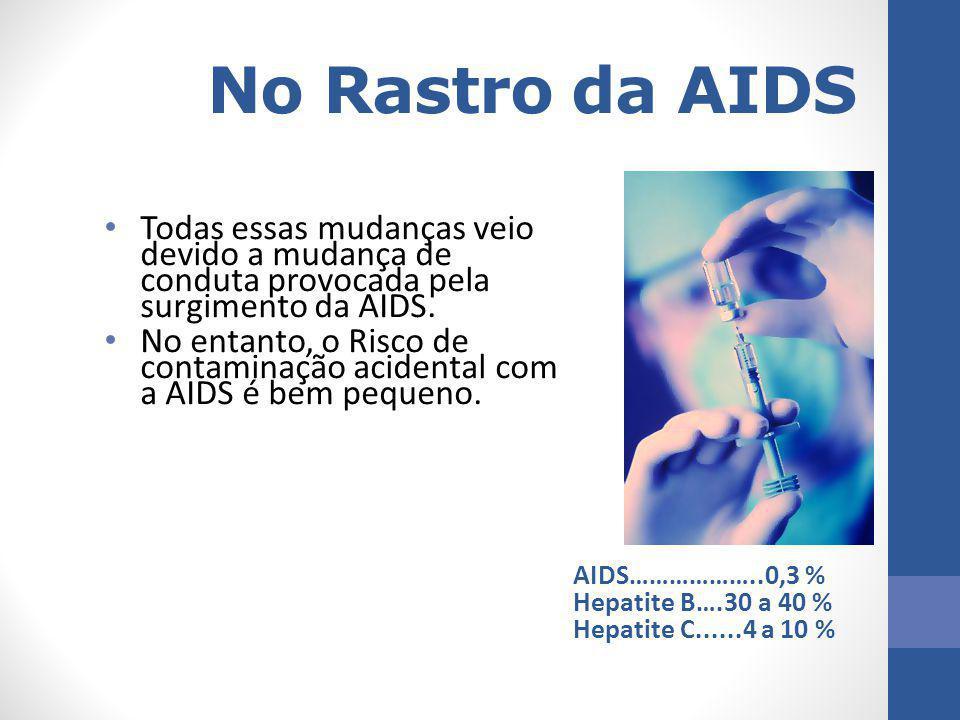 No Rastro da AIDS Todas essas mudanças veio devido a mudança de conduta provocada pela surgimento da AIDS. No entanto, o Risco de contaminação acident