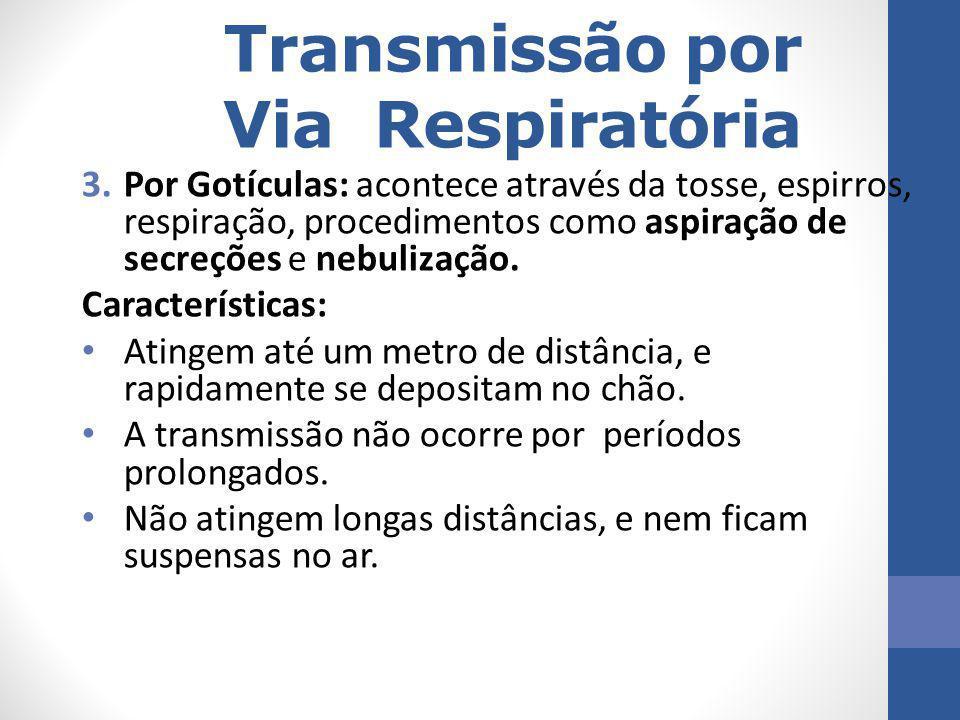 Transmissão por Via Respiratória 3.Por Gotículas: acontece através da tosse, espirros, respiração, procedimentos como aspiração de secreções e nebuliz