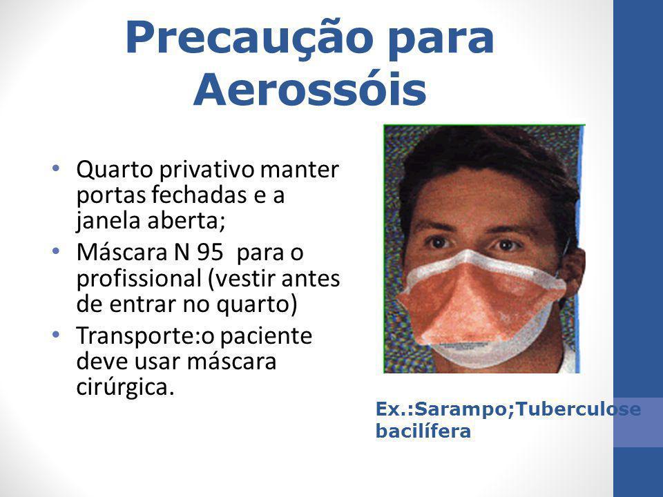 Precaução para Aerossóis Quarto privativo manter portas fechadas e a janela aberta; Máscara N 95 para o profissional (vestir antes de entrar no quarto