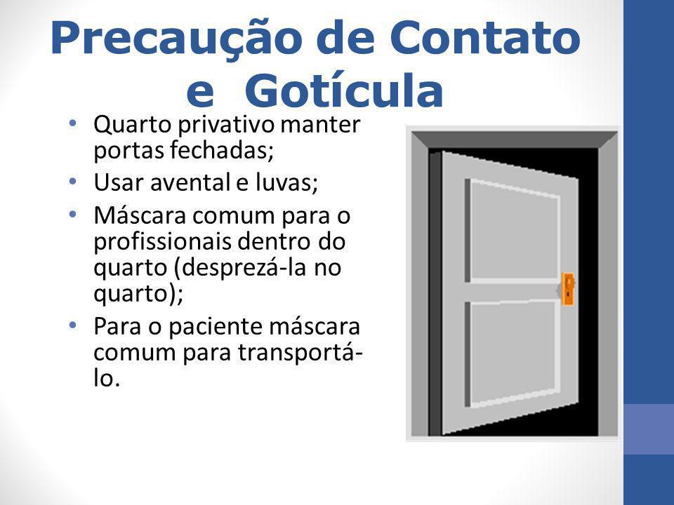 Precaução de Contato e Gotícula Quarto privativo manter portas fechadas; Usar avental e luvas; Máscara comum para o profissionais dentro do quarto (de