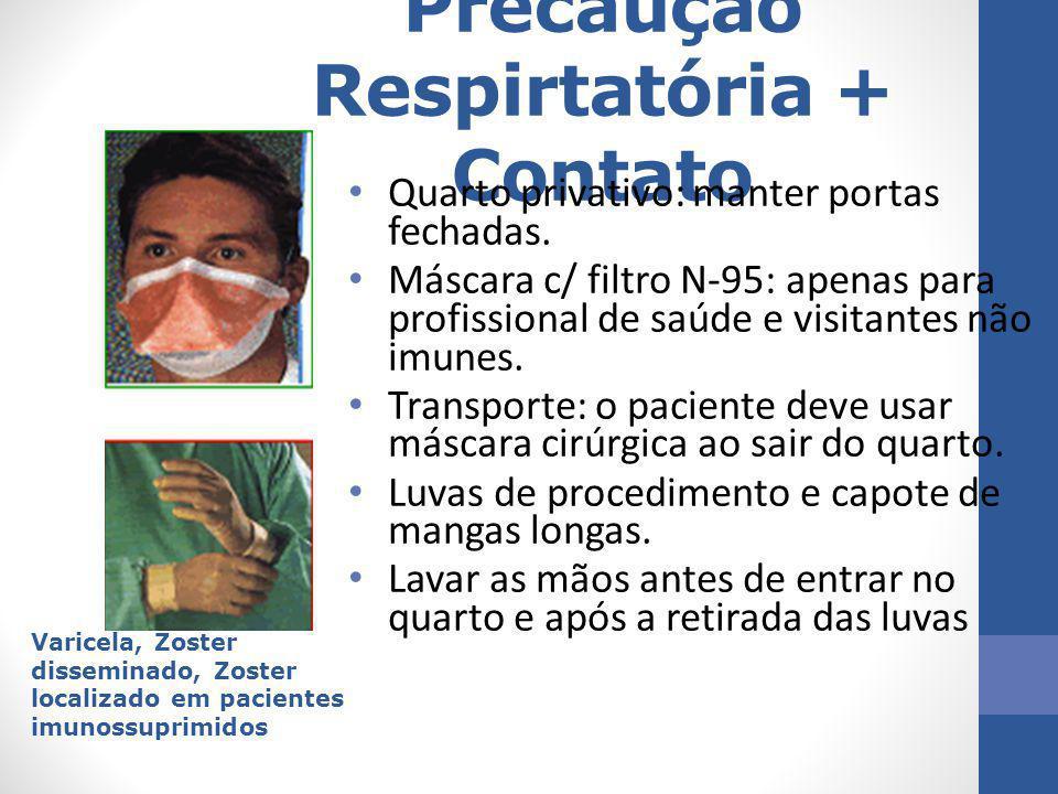 Precaução Respirtatória + Contato Quarto privativo: manter portas fechadas. Máscara c/ filtro N-95: apenas para profissional de saúde e visitantes não