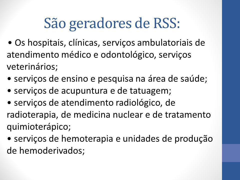 São geradores de RSS: Os hospitais, clínicas, serviços ambulatoriais de atendimento médico e odontológico, serviços veterinários; serviços de ensino e