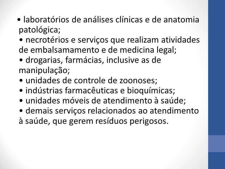 laboratórios de análises clínicas e de anatomia patológica; necrotérios e serviços que realizam atividades de embalsamamento e de medicina legal; drog