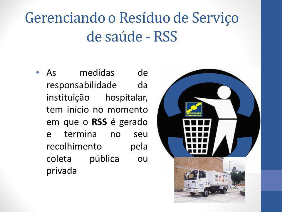 Gerenciando o Resíduo de Serviço de saúde - RSS As medidas de responsabilidade da instituição hospitalar, tem início no momento em que o RSS é gerado