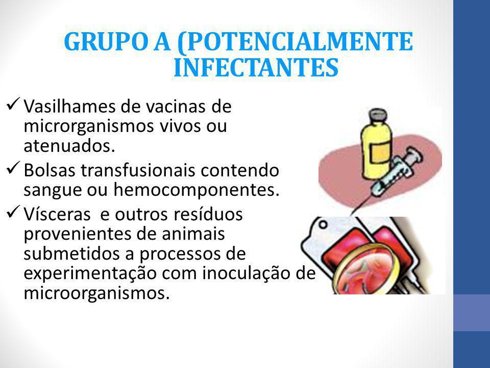 GRUPO A (POTENCIALMENTE INFECTANTES Vasilhames de vacinas de microrganismos vivos ou atenuados. Bolsas transfusionais contendo sangue ou hemocomponent