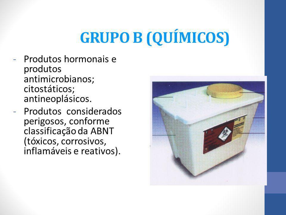 GRUPO B (QUÍMICOS) -Produtos hormonais e produtos antimicrobianos; citostáticos; antineoplásicos. -Produtos considerados perigosos, conforme classific