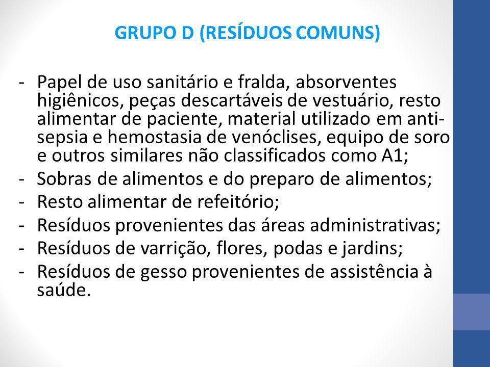 -Papel de uso sanitário e fralda, absorventes higiênicos, peças descartáveis de vestuário, resto alimentar de paciente, material utilizado em anti- se